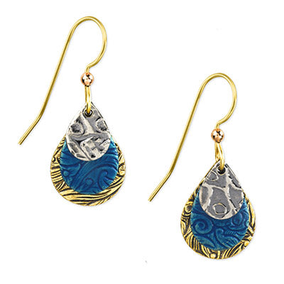 Silver, Gold, & Blue Earrings