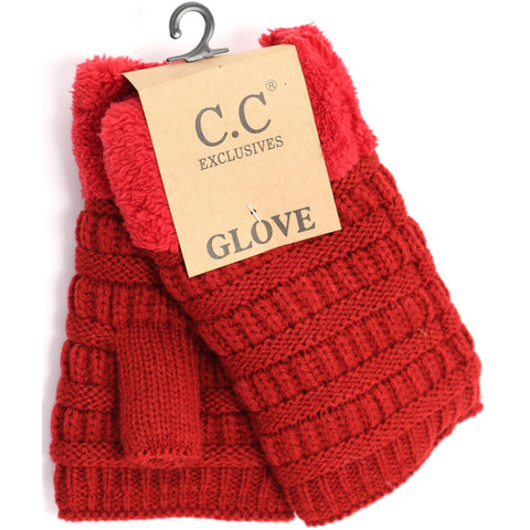 Fingerless Sherpa Lined Gloves - Red