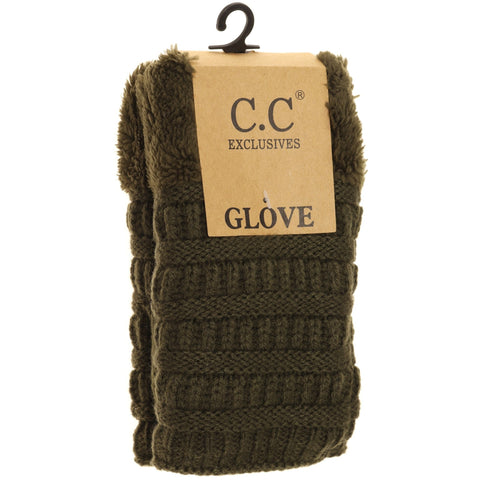 Fingerless Sherpa Lined Gloves - New Olive