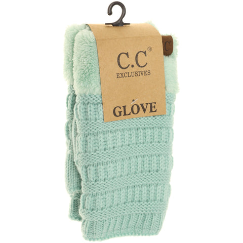 Fingerless Sherpa Lined Gloves - Mint