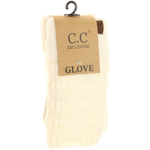 Fingerless Sherpa Lined Gloves - Ivory