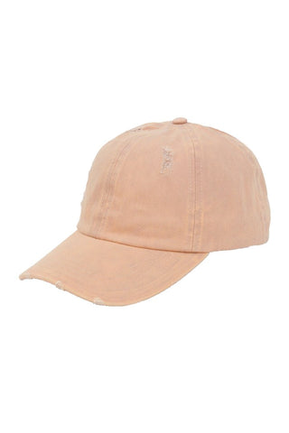 Distressed Cotton Ponytail Baseball Hat - Dusty Pink