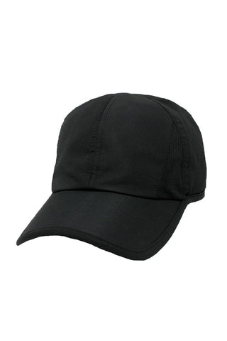 Solid Feather Light Ponytail Baseball Hat - Black