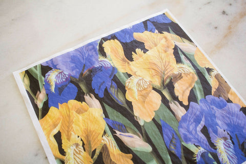 Floral on Black Decoupage Rice Paper