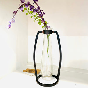 Glass Jar with Purple Flowers