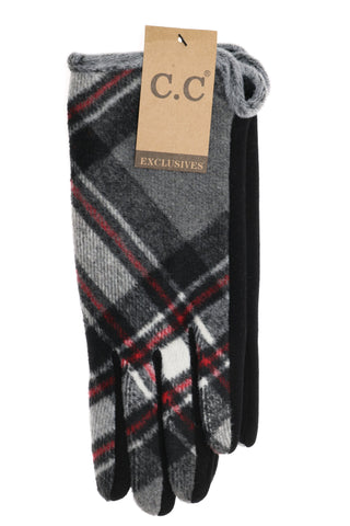 Plaid CC Gloves - Black