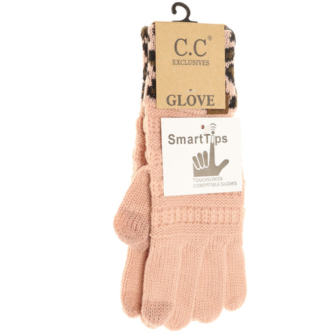 Solid Cable Knit Leopard Cuff CC Gloves - Indie Pink