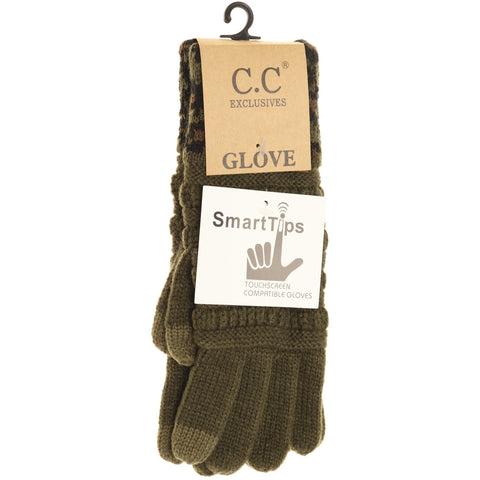 Solid Cable Knit Leopard Cuff CC Gloves - New Olive
