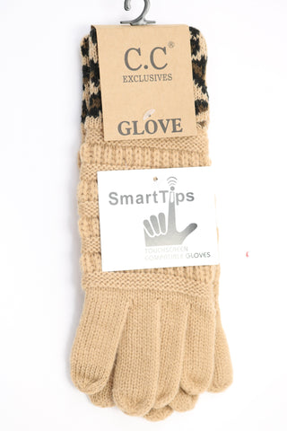 Solid Cable Knit Leopard Cuff CC Gloves - Camel