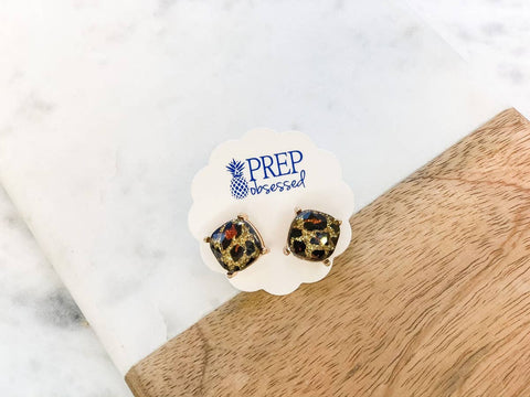 Glitter Leopard Enamel Stud Earrings