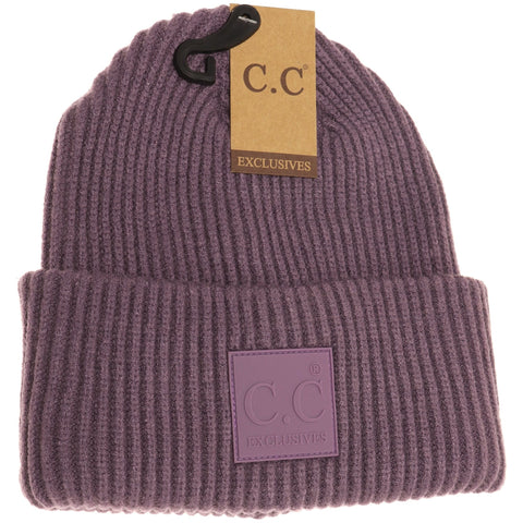 Solid Ribbed CC Beanie with Rubber Patch - Violet