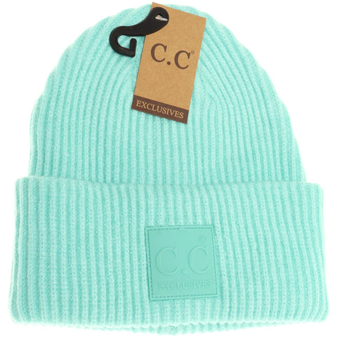 Solid Ribbed CC Beanie with Rubber Patch - Mint