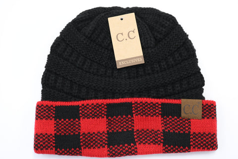 Buffalo Check Knit CC Beanie - Red/Black