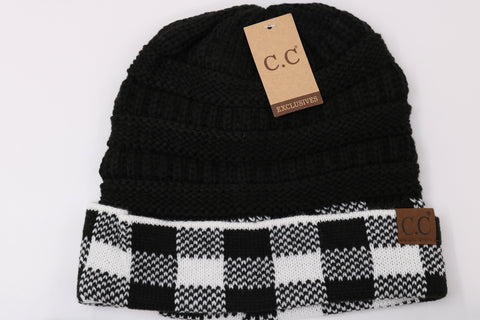 Buffalo Check Knit CC Beanie - Black/White