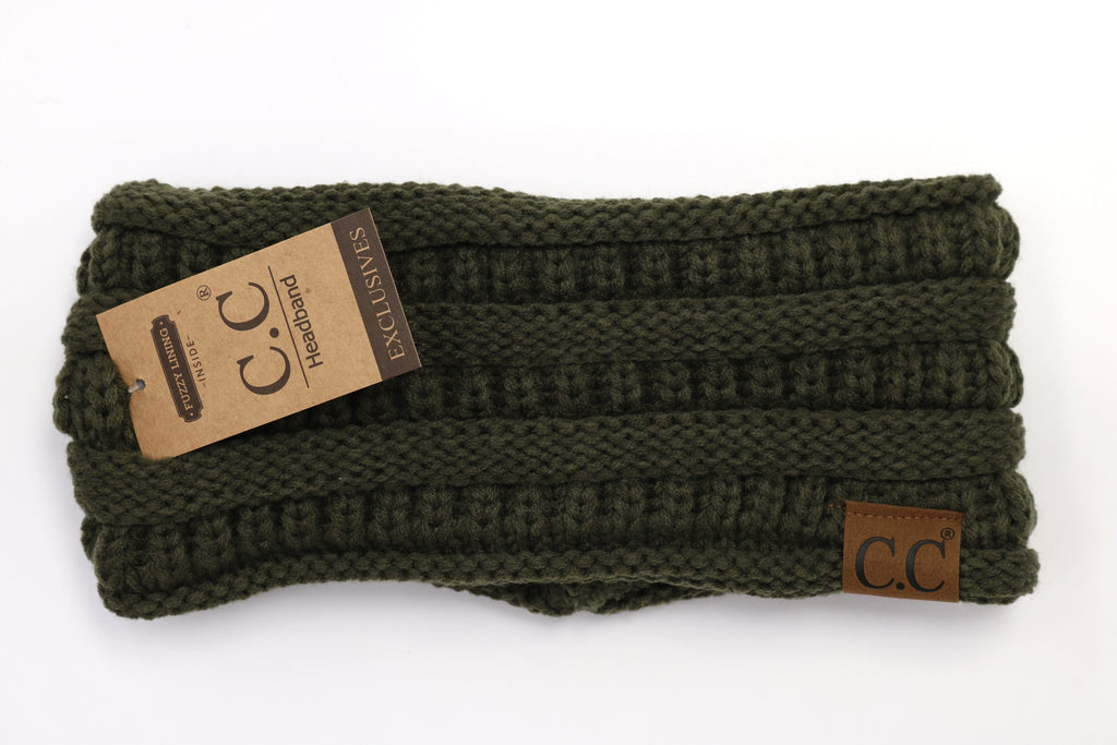Solid Ribbed Headwrap - Olive