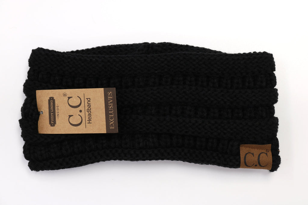 Solid Ribbed Headwrap - Black