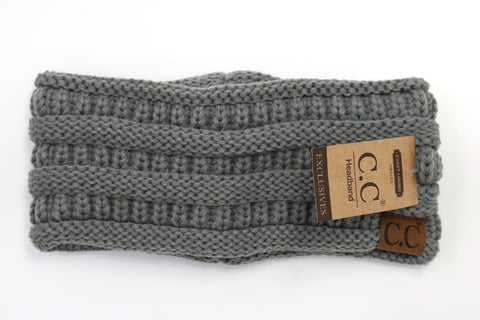 Solid Ribbed Headwrap - Dark Grey