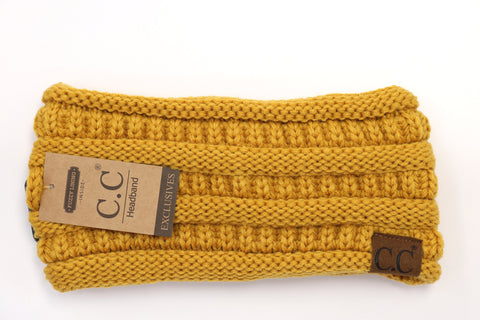 Solid Ribbed Headwrap - Mustard