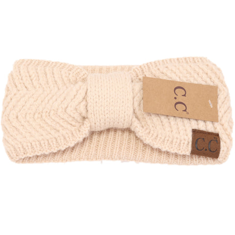 Chevron Knit Knot Head Wrap - Beige