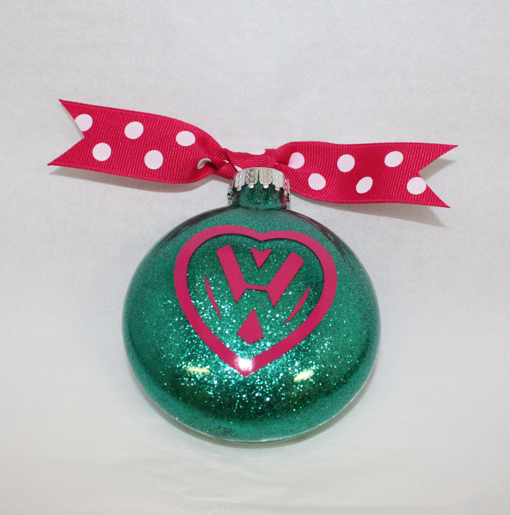 VW Green & Pink Heart Ornament