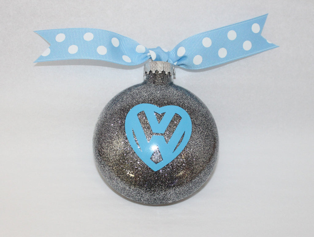 VW Silver & Blue Heart Ornament