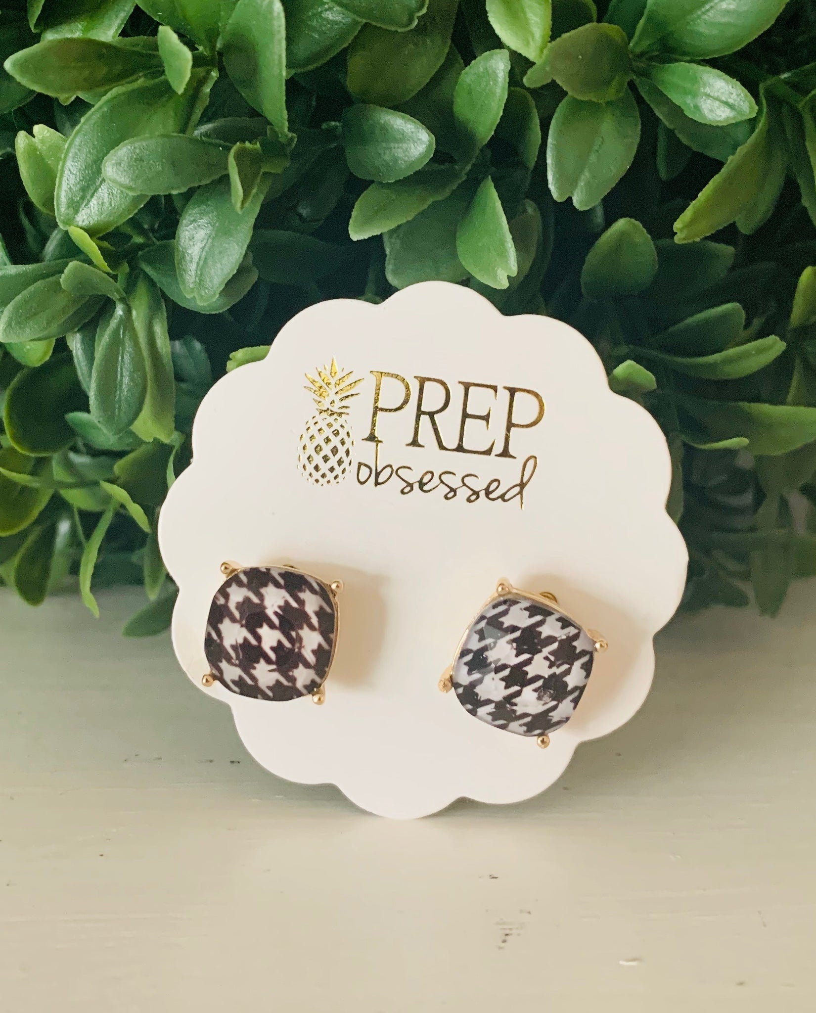 Houndstooth Prep Obsessed Earrings