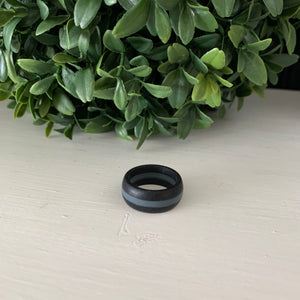 Thick Black with Gray Line Silicone Ring