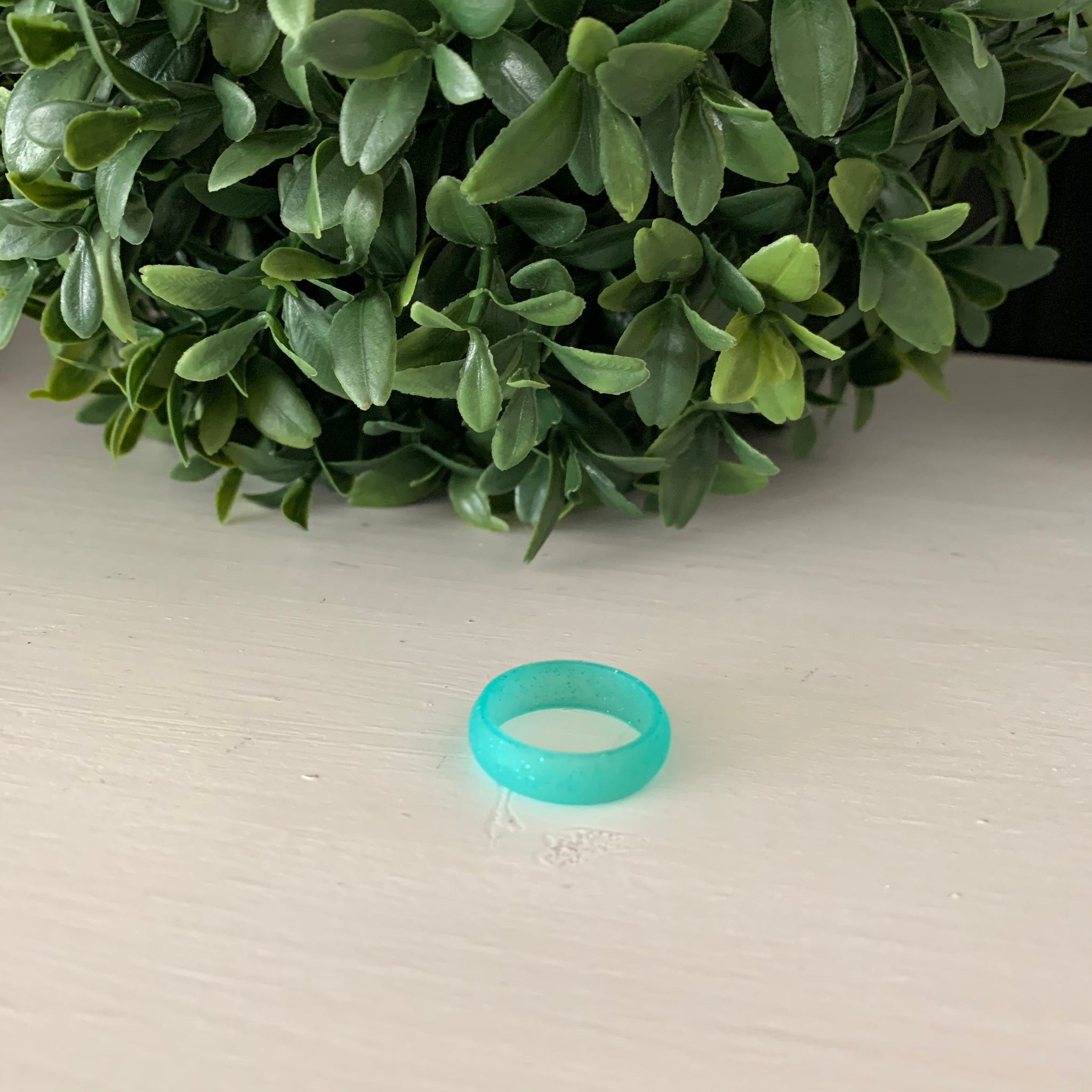 Turquoise with Sparkles Silicone Ring