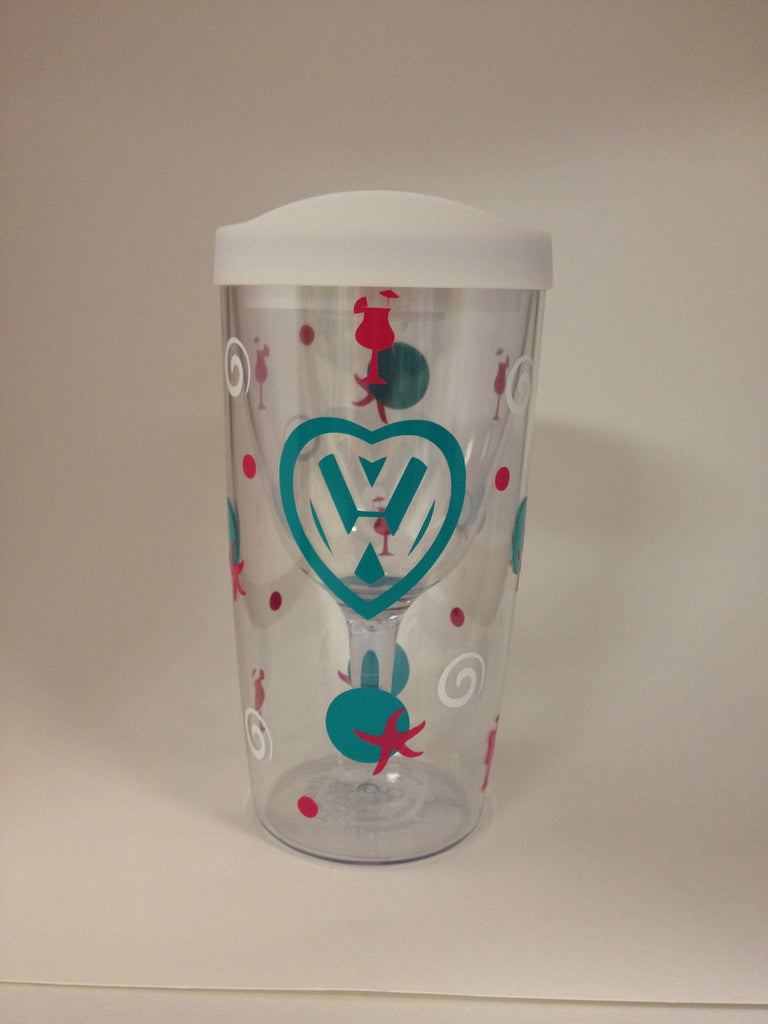 VW Wine Tumbler in Turquoise & Pink