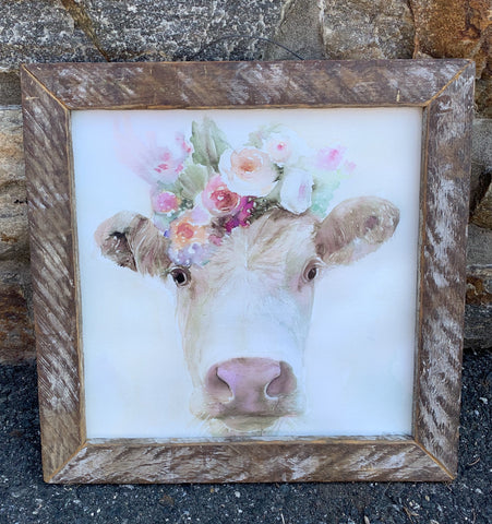 Floral Cow Sign