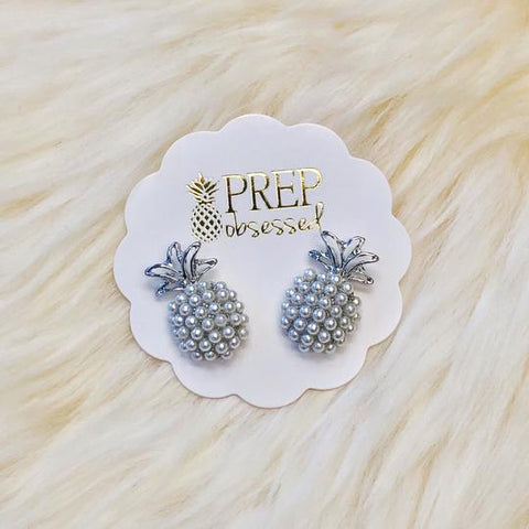 Pineapple Pearl Pop Studs - Silver