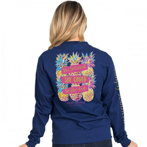 """She Believed She Could"" Pineapple Long Sleeve Tee"