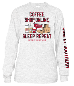 Coffee, Shop Online, Sleep, Repeat Long Sleeve Shirt