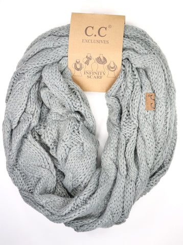 Solid Cable Knit Infinity Scarf - Light Gray