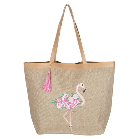 Flamingo Burlap Tote Bag