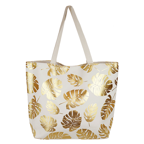 Gold & White Leaves Canvas Tote Bag