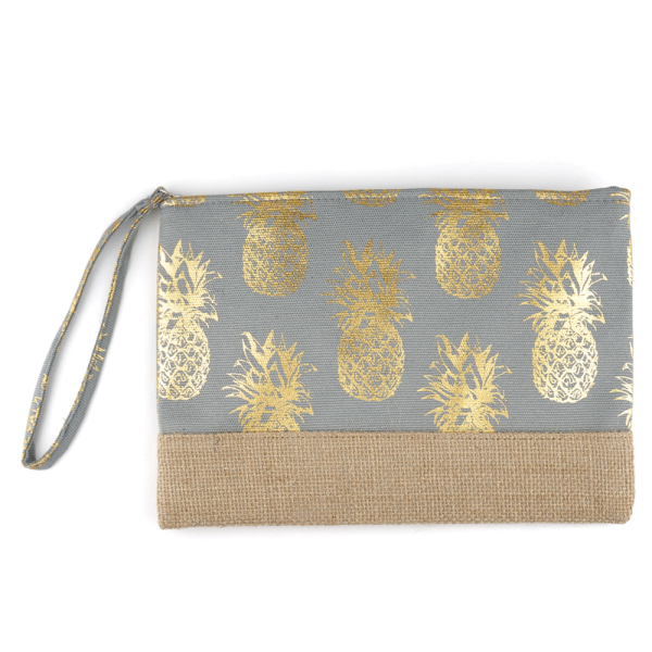 Burlap Canvas Cosmetic Case - Pineapple Gray