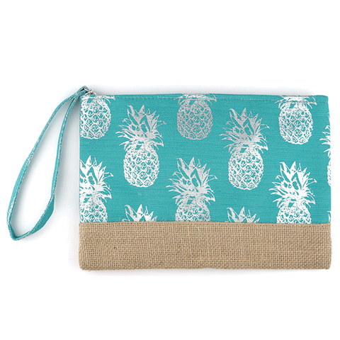 Burlap Canvas Cosmetic Case - Pineapple Turquoise