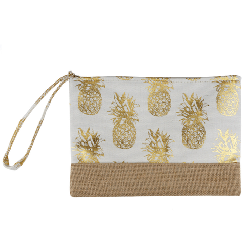 Burlap Canvas Cosmetic Case - Pineapple White