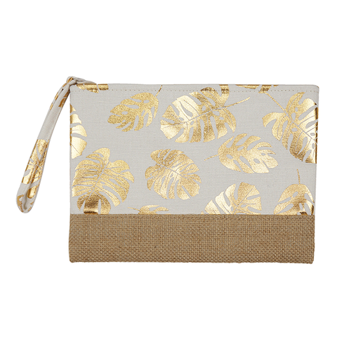 Burlap Canvas Cosmetic Case - Leaves White