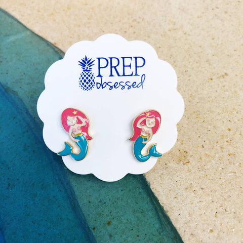 Mermaid Enamel Stud Earrings