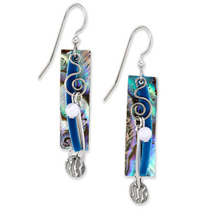 Blue Shell Silver Dangle Earrings