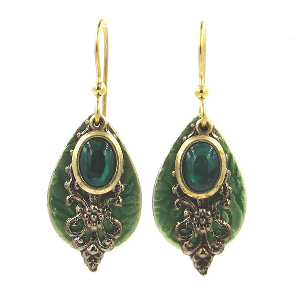 Gold & Green Abalone Earrings
