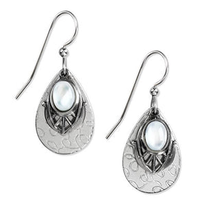 Silver White Stone Earrings