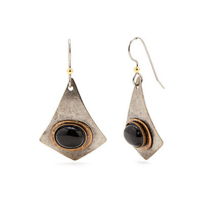 Silver & Black Stone Earrings