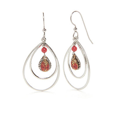 Silver & Red Ladybug Earrings