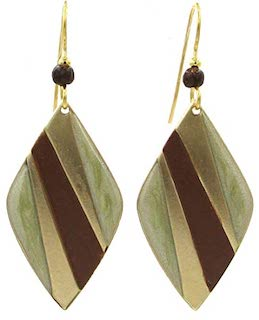 Brown & Gold Diamond Shaped Earrings