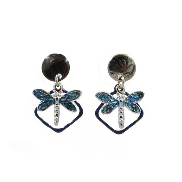 Silver & Blue Dragonfly Post Earrings