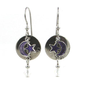Silver & Purple Moon/Star Earrings