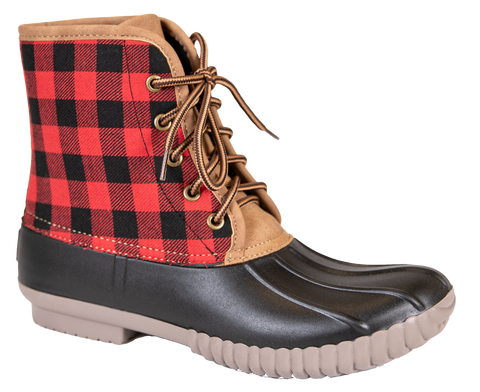 Plaid Lace Up Boots